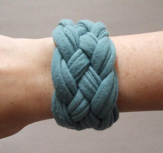 Fabric Bracelet - Light Blue Bracelet -  Braided Bracelet - Eco Friendly - Fabric Jewelry - T-Shirt Jewelry - Allergy Free Jewelry