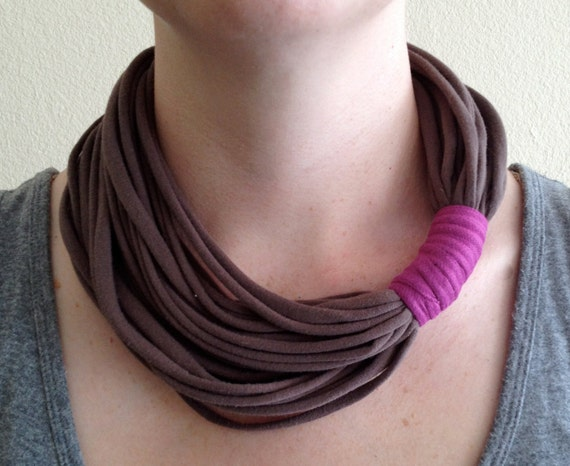 Brown T-Shirt Jewelry - Light Brown T-Shirt Necklace - Brown and Fuschia Necklace - Fabric Jewelry - Fabric Accessory