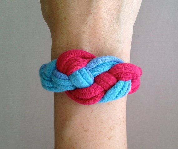 Fabric Bracelet - Braided Bracelet - Blue and Pink - Blue and Pink Bracelet - Eco Friendly Jewelry - T-Shirt Jewelry