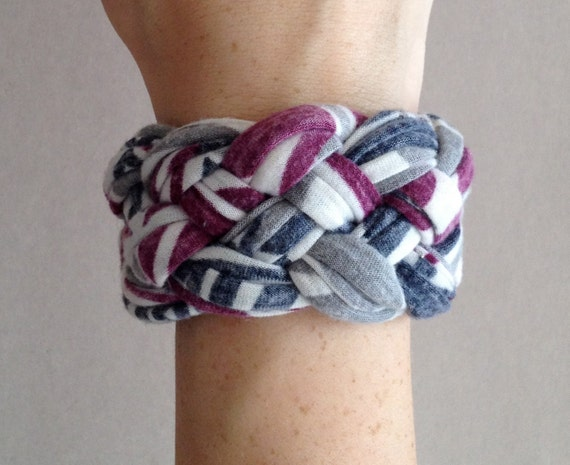 Braided Bracelet - Gray, White, Navy, and Purple Bracelet - Navy Bracelet - Fabric Bracelet - Made From T-Shirts - Eco Friendly