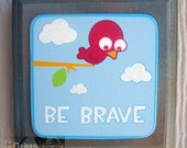 Bird brave clouds tree wall art plaque