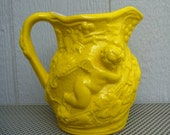 Pitcher Jug Baroque ceramic yellow vintage angel grape vine