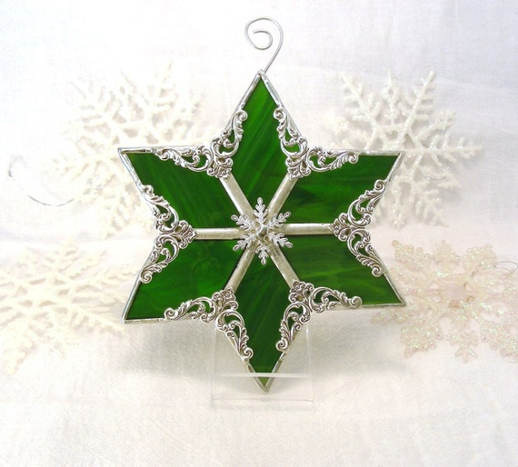 Green Snowflake Star