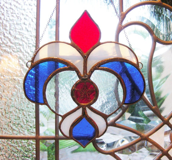ON SALE Fleur de Lis in Red White and Blue (ready to ship) 33% off