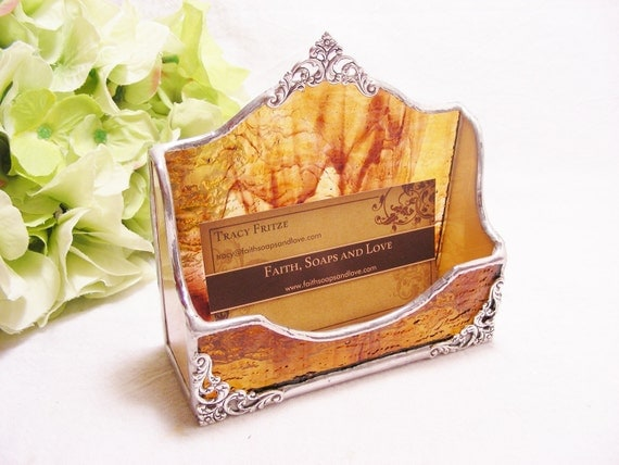 Brown and Amber Wispy Business Card Holder