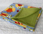 Blue and Green Fleece Owl Blanket - Baby/Toddler