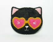 Miss Cat with fancy glasses felt pin