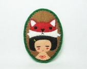 Mr. Fox and girl felt pin - made to order