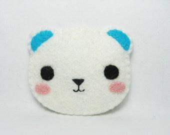 Polar Bear felt pin - made to order