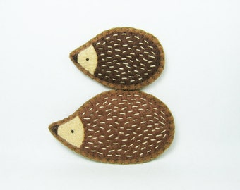 SALE Choco combo hedgehogs felt pins - made to order