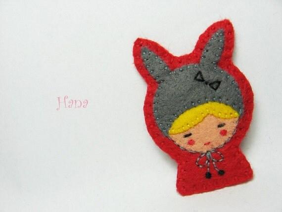 Rabbit disguise felt pin