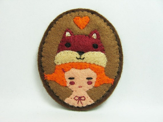 A Squirrel and a Girl felt pin