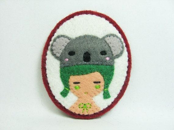 Mr. Koala and Girl felt pin
