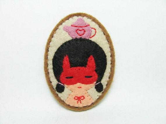 SALE Carnival girl - rabbit disguise - felt pin