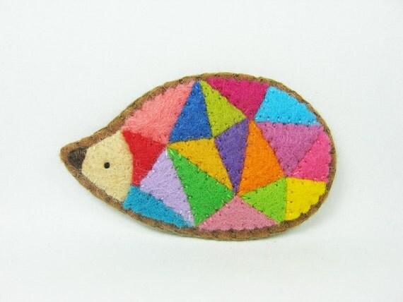 Prism hedgehog felt pin - made to order