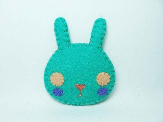 Perfect green rabbit felt brooch - made to order