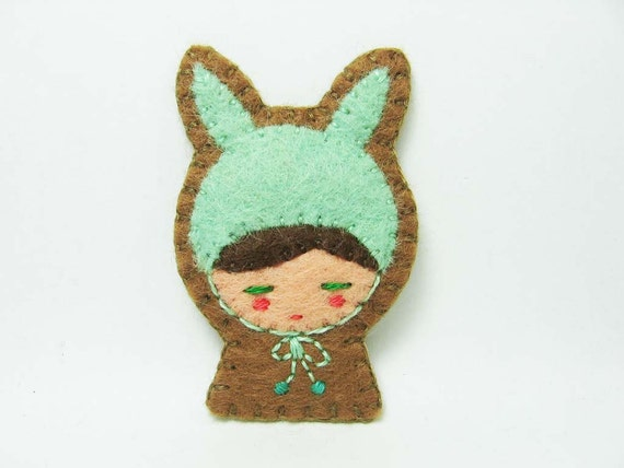 Rabbit disguise felt brooch - made to order