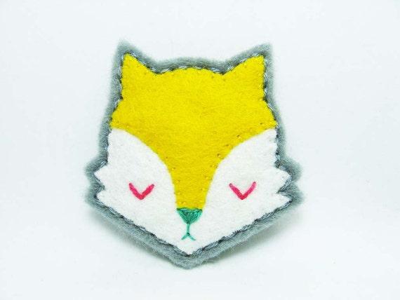 SALE Yellow moody fox felt brooch - tiny size