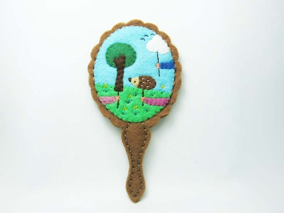 Reflection of a spring scenario felt brooch - reserved for JenniferBaele