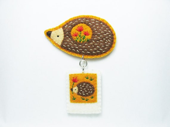 Hedgehog stories in tiny polaroid photos felt brooch - portable instant memories