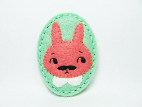 Troubled Charlie of rabbits felt brooch