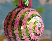 Sequin Swirl Ornament- Pink and Green