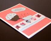 Handmade Notecard - Cupcakes - Happy Birthday - Blank Inside - Shipping Included