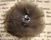 Gray Chiffon Fabric Flower With Rhinestone Center - Hair Clip, Brooch Pin, Headband - Shipping Included