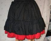 "Black basic cupcake skirt Mori Girl 18 inches long double tier extra full bottom ruffle petticoat plus size free size up to 60"""