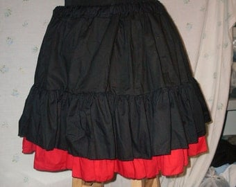 Black basic cupcake skirt Mori Girl 18 inches long double tier extra full bottom ruffle petticoat plus size free size up to 60""