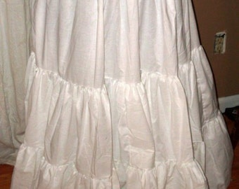 Maxi Skirt Long Wedding Petticoat White Ten Yard Hem Cotton Lagenlook, Country Western, Pirate, Gypsy, Hippy and Festival