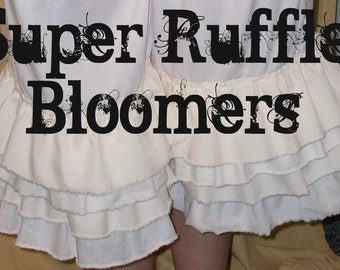 Your Color Choice Cotton Your Size Super Ruffle Bloomers Knickers Pantaloons Shabby Chic Tattered