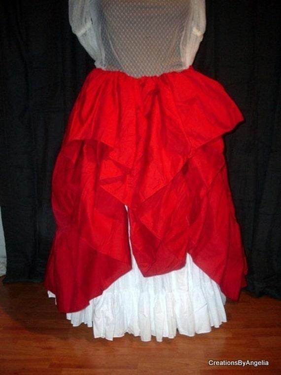 Scarlet Red Cotton Maxi Skirt, Lagenlook, Pirate, Mori Girl, Peasant, Hippy, Ten Yard Hem Petticoat