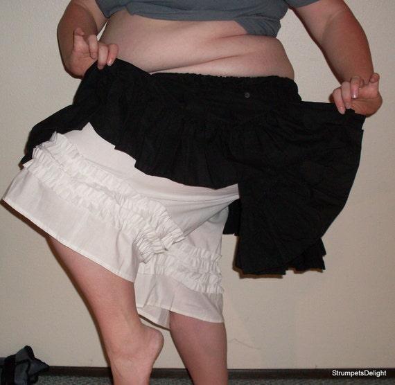 SALE Ready to Ship Bloomers Pantaloons Ruffles Capri White Double Ruffle Knickers Straight Leg Size Medium Large Plus Size