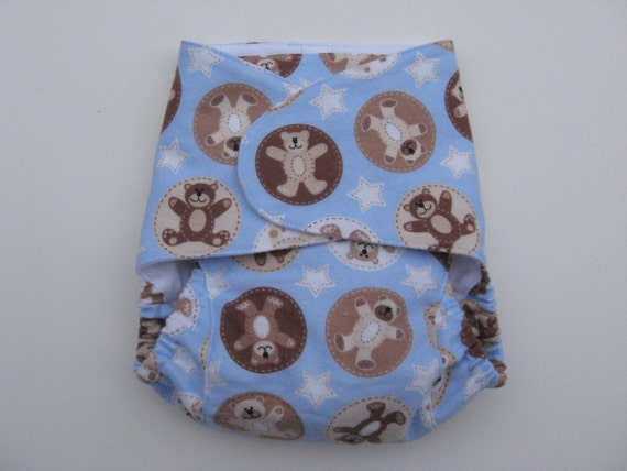 One-Size Fitted Cloth Diaper - Teddy Bears- Blue