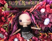 RESERVED...SUPERnatural Devilla Bedhead Doll Wreath...Gothic Day of the Dead Halloween Zombie Skeleton Cameos...Zinnias and Marigolds and Mums...Spooky CUTE and full of Whismy