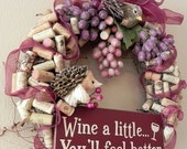 Charming Countryside Winery Wreath ...Wine a little...you'll feel better..sugared bejeweled grape vines, corks, hedgehog, bird