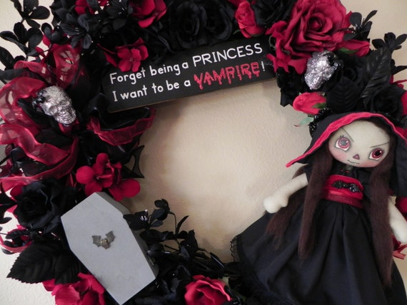 Lil' Vamp Lover's Wreath... Forget being a princess, I want to be a VAMPIRE in Blood Red and Midnight Black Velvet Roses... OOAK Raggedy Ann Cloth Art Horror Goth Doll...FREE SHIPPING