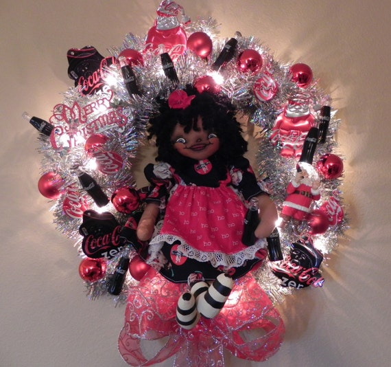SALE Christmas Wreath Retro Coca Cola Santa Claus Light Up ...Silver Tinsel Collectible OOAK Primitive Raggedy Ann Cloth Art Doll