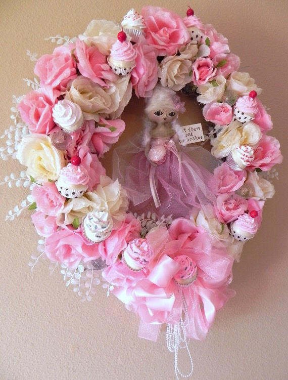 SALE Marie Antoinette Cupcake Wreath...Antiqued Frosted Roses, Pearls and Crystals ...Handmade OOAK Art Doll
