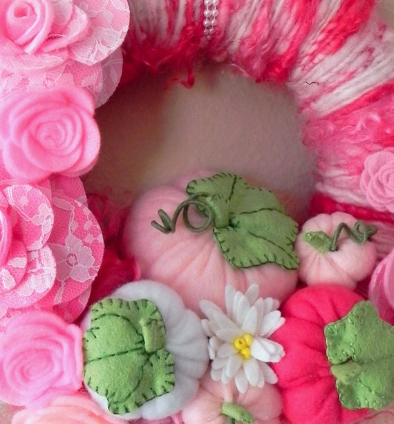 SALE Pink Pumpkins and Roses Yarn Wreath ...full of lace, roses,pearls and pumpkins