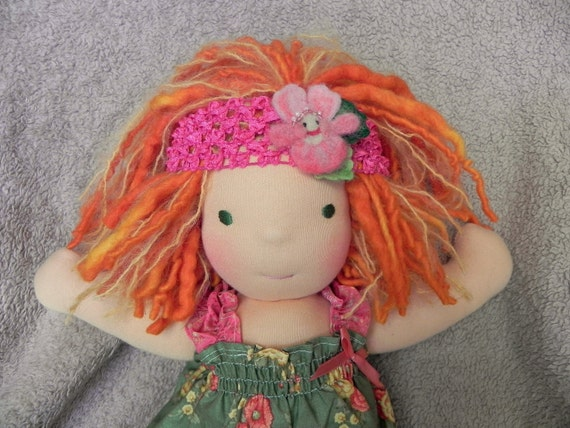 Waldorf Doll Pink Princess Pansy Hair Wreath ...Needle felted Head Band for Waldorf doll (or the little girl who loves her)