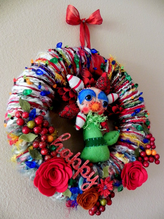 PRICE SLASH Christmas Wreath Waldorf Doll Poinsettia Flower Art Yarn ...Featuring Handmade Child's Toy ...Christmas Tree Ornament