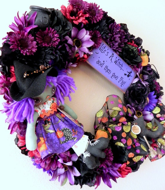 Purple Witch Halloween Fall Wreath ....Features OOAK Primitive Autumn Folk Art Raggedy Ann Cloth Doll