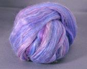 Purple multi striped merino silk fiber