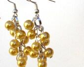 Sale: Cascading Yellow Pearl Earrings
