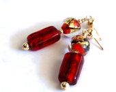 Red earrings  Lampwork glass bead earrings scarlet red gold amber black  Rare Vintage Beads OOAK handmade