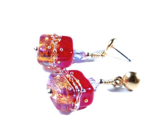 Fiery Pink Red and Gold earrings Lampwork Bead earrings gold post earrings fuchsia hot pink glass bead earrings