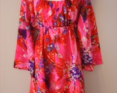HOLD FOR MELANIE Vibrant Pink Purple And Floral Colored Vintage Hawaiian Dress