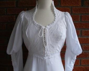 Boho GUNNE SAX Dress- 70s Vintage Victorian Elegance - Party Event Wedding Dress